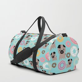 Pug and donuts blue Duffle Bag