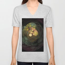 Wild swirling worlds in green and yellow Unisex V-Neck