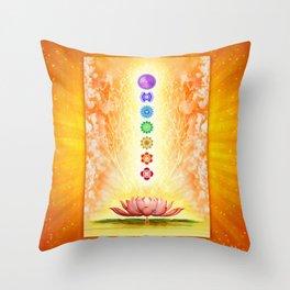 Sacred Lotus - The Seven Chakras .I Throw Pillow