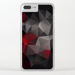 Polygon red black triangles . Clear iPhone Case