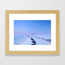 III -  Lake and dike at sunrise in winter in The Netherlands Framed Art Print