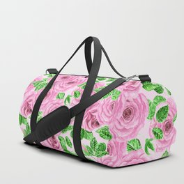 Pink watercolor roses with leaves and buds pattern Duffle Bag