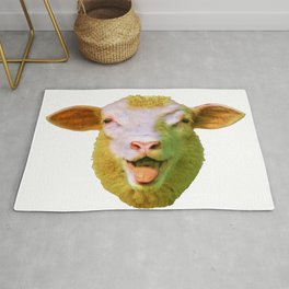 Sheep Face Mammal Stuffed Amused Old Style Art Rug