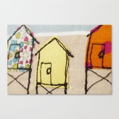 Embroidered Beach huts Canvas Print