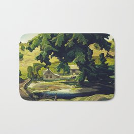 Farm Haliburton oil on hardboard 1940 Franklin Carmichael Canadian artist Art Nouveau Post-Impressio Bath Mat