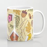 70s Mugs featuring 70s Woodland by Aron Gelineau