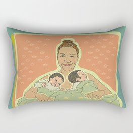 Mother with Twins Rectangular Pillow