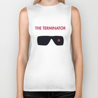 terminator Biker Tanks featuring The Terminator by NotThatMikeMyers