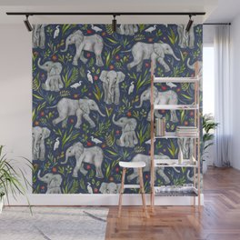 Baby Elephants and Egrets in Watercolor - navy blue Wall Mural