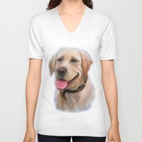 labrador V-neck T-shirts featuring Labrador by OLHADARCHUK