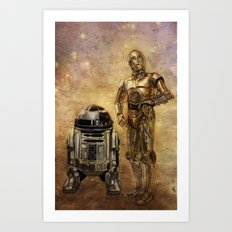 R2D2 and C3PO Art Print