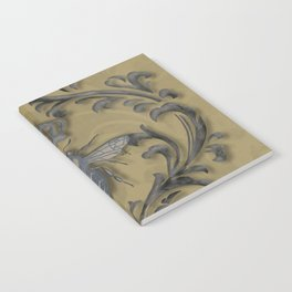 French Bee with Gold Damask Background Notebook