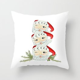 Vintage santa mug stack Throw Pillow