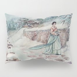 Korean Winter (Watercolor painting) Pillow Sham