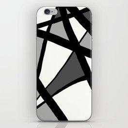 Geometric Line Abstract - Black Gray White iPhone Skin