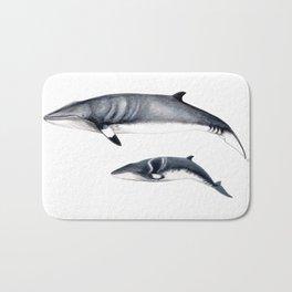 Minke whale with baby whale Bath Mat