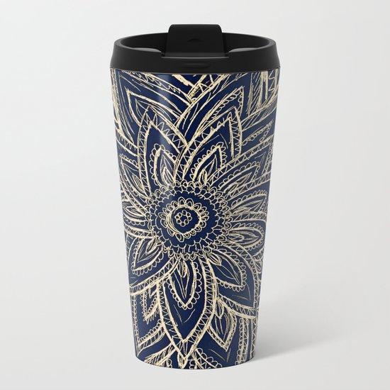 Cute Retro Gold abstract Flower Drawing  geometric Metal Travel Mug