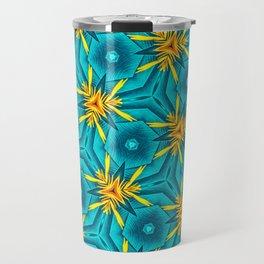 Birds of Paradise Floral Pattern \\ Unique Tropical Vibes \\ Green Yellow Blue Orange Color Scheme Travel Mug