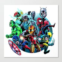 super heroes Canvas Prints featuring Super Heroes by Carrillo Art Studio