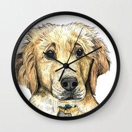 Yellow Lab Puppy Drawing Wall Clock