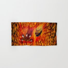 Red Dragon Claw in flames Hand & Bath Towel