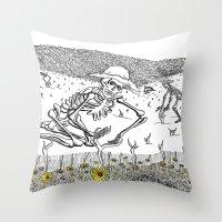 pushing daisies Throw Pillows featuring Pushing Up Daisies by Maria Laureno