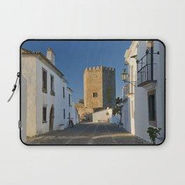 Monsaraz cobbled street and castle, Portugal Laptop Sleeve