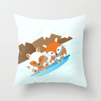 skiing Throw Pillows featuring Skiing by HK Chik