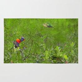 Grunge Rainbow Lorikeets in a tree Rug