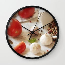 Fresh herbs and Spice for kitchen Wall Clock