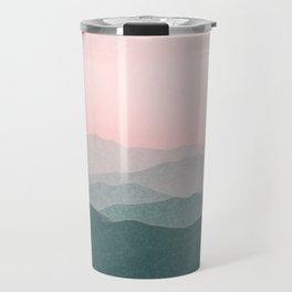 Dreamy mountains and pink sky. Travel Mug