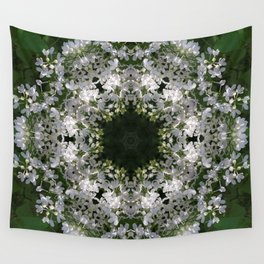 Botanical lace, white lilac mandala /kaleidoscope Wall Tapestry