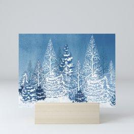Blue Snow Trees Mini Art Print