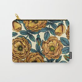 Golden Yellow Roses - A Vintage-Inspired Floral/Botanical Pattern Carry-All Pouch