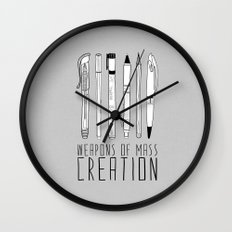 Weapons Of Mass Creation (on grey) Wall Clock