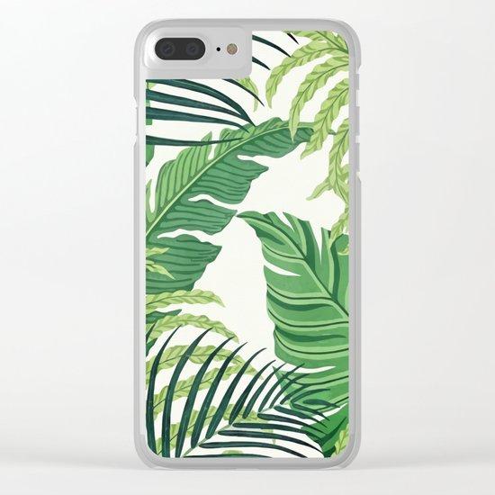 Green tropical leaves II Clear iPhone Case