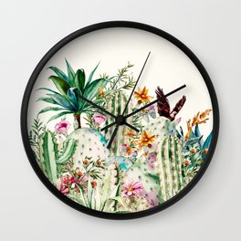 Blooming in the cactus Wall Clock