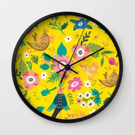 The yellow vision of the little bird Wall Clock