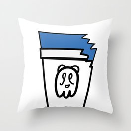 Blue Chilly Bear Throw Pillow