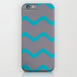 Teal and Grey Wavy Horizontal Stripe Pattern 2021 Color of the Year AI Aqua and Good Gray iPhone Case