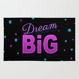 Dream big motto inspirational quote 80s 90s style design Rug