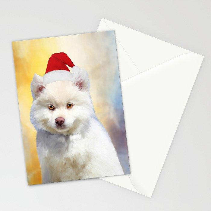 American Eskimo Dog Christmas Santa Hat Stationery Cards