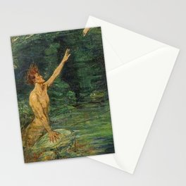 Merman Reaching Up By Myrtle Florence Broome Stationery Cards