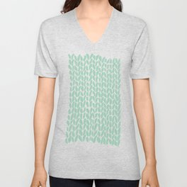 Hand Knit Zoom Mint Unisex V-Neck
