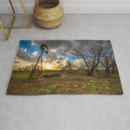 Twilight - Windmill and Trees and Sunset in Southern Kansas Rug