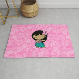 Aloha Honeys Hawaiian Hula Girl Cartoon Rug