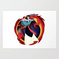 mulan Art Prints featuring Mulan by Karrashi