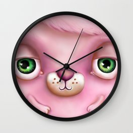 Those Eyes... Love Monster in Pink by Sarah M Wall Wall Clock