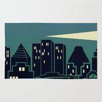 montreal Area & Throw Rugs featuring Montreal Skyline by Wheel of Fortune