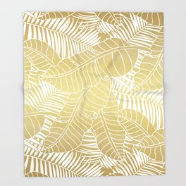 Golden tropical leaves Throw Blanket